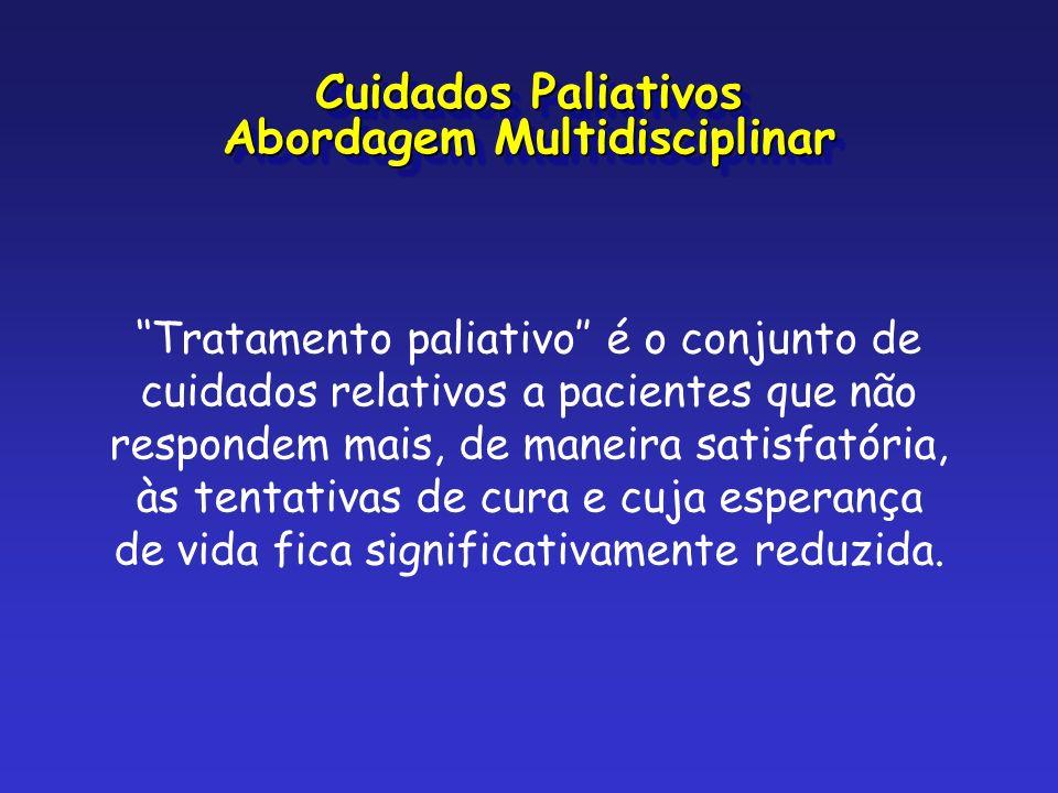 Tratamento paliativo é o conjunto de cuidados relativos a pacientes que não respondem mais, de maneira satisfatória, às tentativas de cura e cuja espe
