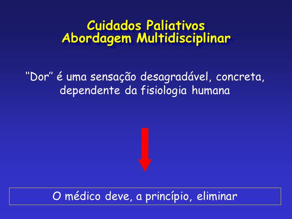 Dor é uma sensação desagradável, concreta, dependente da fisiologia humana O médico deve, a princípio, eliminar Cuidados Paliativos Abordagem Multidis