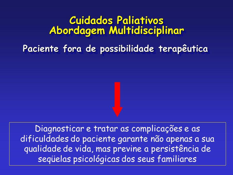 Paciente fora de possibilidade terapêutica Diagnosticar e tratar as complicações e as dificuldades do paciente garante não apenas a sua qualidade de v