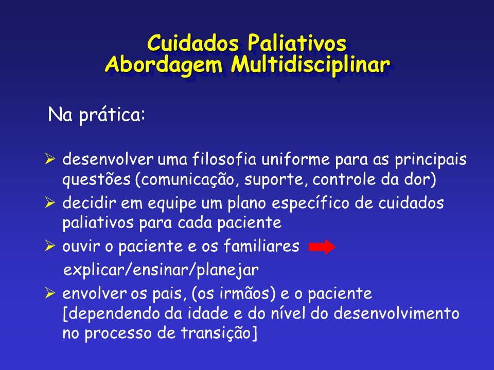 Na prática: desenvolver uma filosofia uniforme para as principais questões (comunicação, suporte, controle da dor) decidir em equipe um plano específi