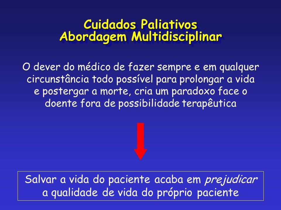 O dever do médico de fazer sempre e em qualquer circunstância todo possível para prolongar a vida e postergar a morte, cria um paradoxo face o doente