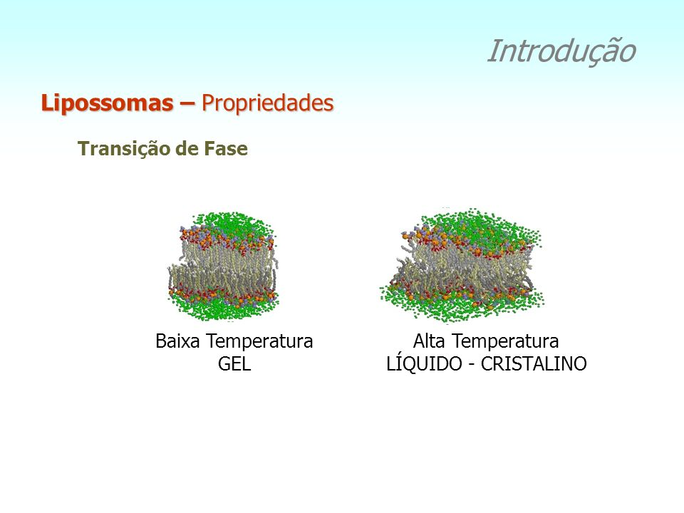 Transição de Fase Baixa Temperatura GEL Alta Temperatura LÍQUIDO - CRISTALINO Lipossomas – Propriedades Introdução