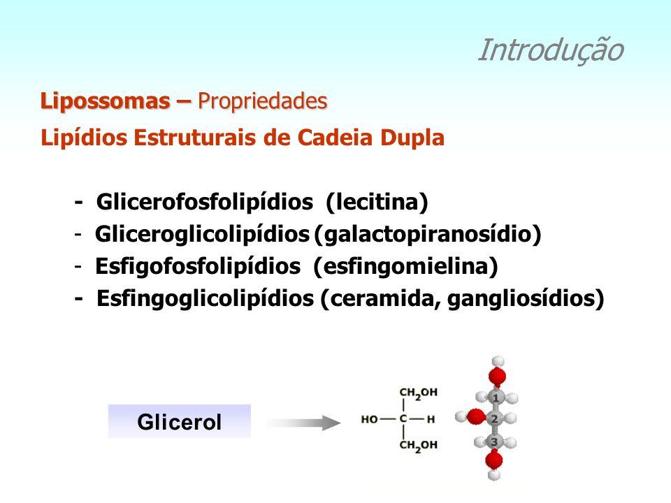 Lipossomas – Propriedades Introdução Lipídios Estruturais de Cadeia Dupla - Glicerofosfolipídios (lecitina) -Gliceroglicolipídios (galactopiranosídio)