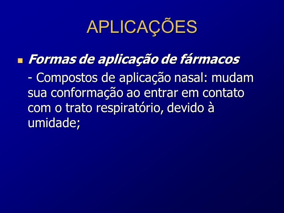 APLICAÇÕES Formas de aplicação de fármacos Formas de aplicação de fármacos - Compostos de aplicação nasal: mudam sua conformação ao entrar em contato