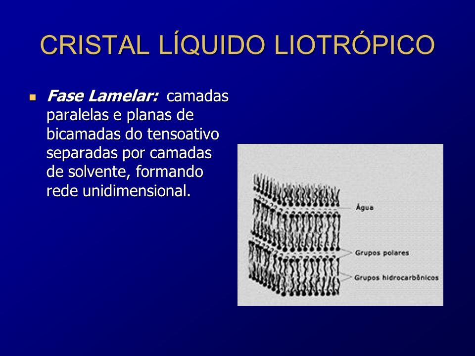 CRISTAL LÍQUIDO LIOTRÓPICO Fase Lamelar: camadas paralelas e planas de bicamadas do tensoativo separadas por camadas de solvente, formando rede unidim