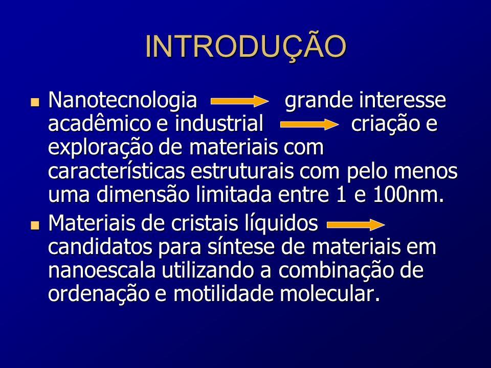 DEFINIÇÃO O cristal líquido é um estado da matéria existente entre a fase cristalina e líquida caracterizado pela perda parcial ou completa da ordenação posicional em sólidos cristalinos, conservando a ordem orientacional das moléculas constituintes.