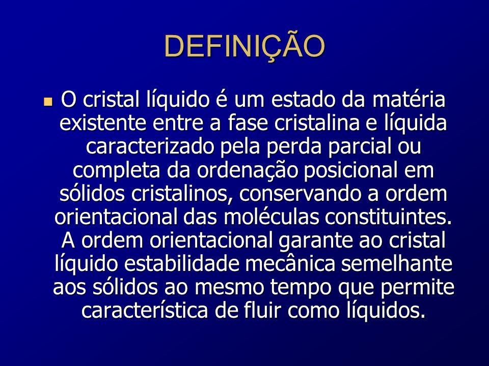 DEFINIÇÃO O cristal líquido é um estado da matéria existente entre a fase cristalina e líquida caracterizado pela perda parcial ou completa da ordenaç