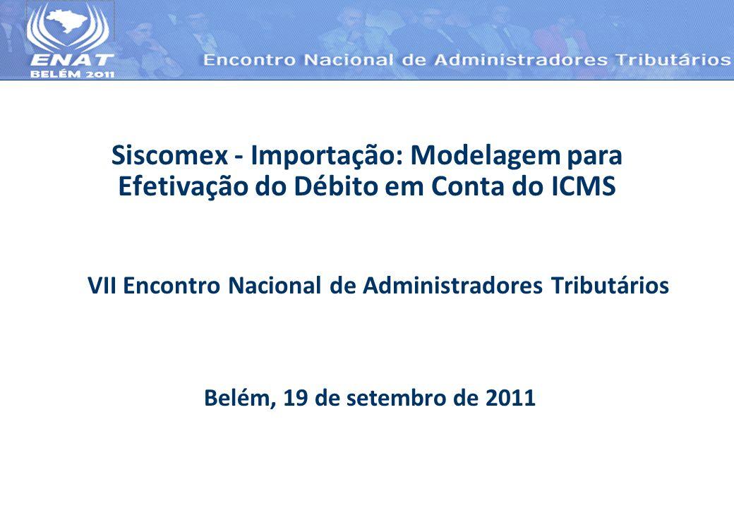 Siscomex - Importação: Modelagem para Efetivação do Débito em Conta do ICMS VII Encontro Nacional de Administradores Tributários Belém, 19 de setembro