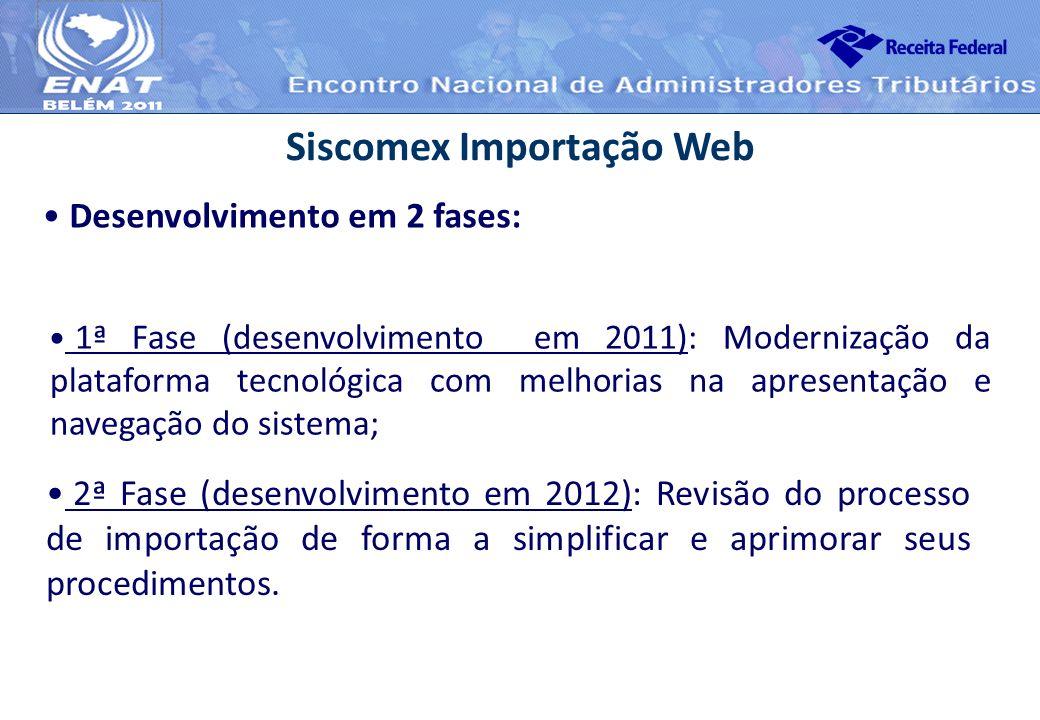 1ª Fase (desenvolvimento em 2011): Modernização da plataforma tecnológica com melhorias na apresentação e navegação do sistema; Siscomex Importação We