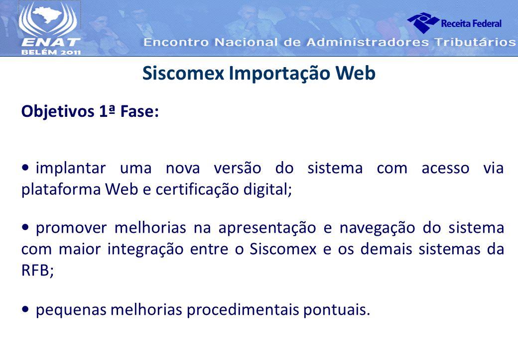 Siscomex Importação Web Objetivos 1ª Fase: implantar uma nova versão do sistema com acesso via plataforma Web e certificação digital; promover melhori