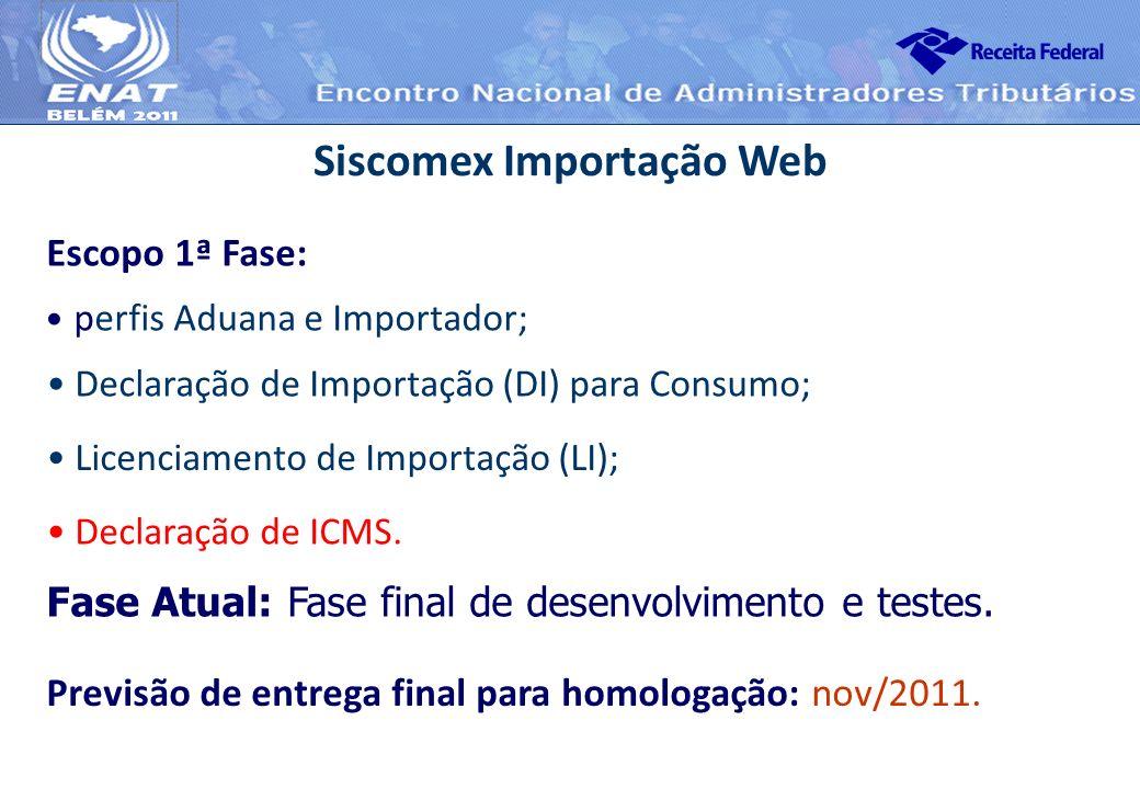 perfis Aduana e Importador; Siscomex Importação Web Escopo 1ª Fase: Fase Atual: Fase final de desenvolvimento e testes. Declaração de Importação (DI)