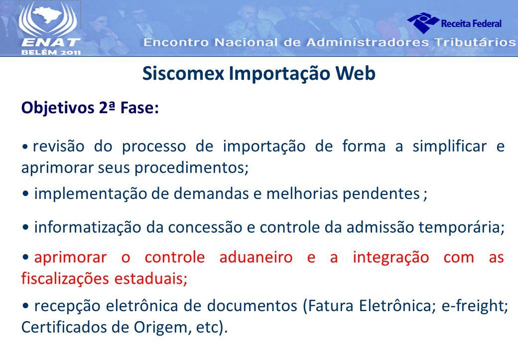 revisão do processo de importação de forma a simplificar e aprimorar seus procedimentos; Siscomex Importação Web Objetivos 2ª Fase: implementação de d