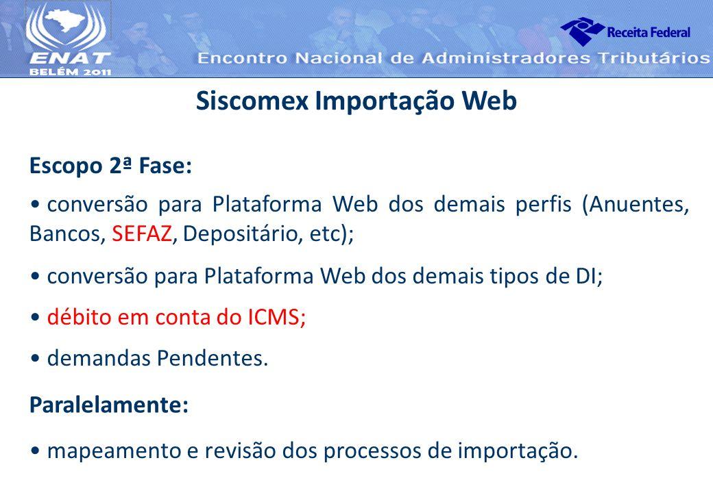 Escopo 2ª Fase: Siscomex Importação Web conversão para Plataforma Web dos demais perfis (Anuentes, Bancos, SEFAZ, Depositário, etc); conversão para Pl