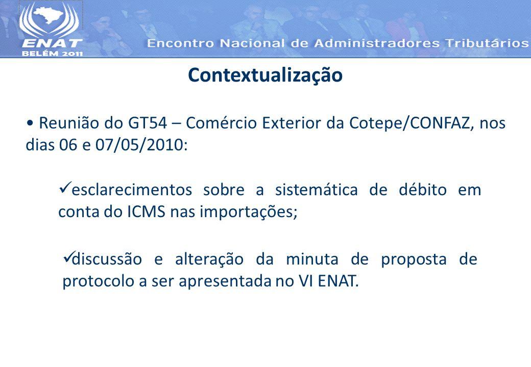 Reunião do GT54 – Comércio Exterior da Cotepe/CONFAZ, nos dias 06 e 07/05/2010: Contextualização esclarecimentos sobre a sistemática de débito em cont