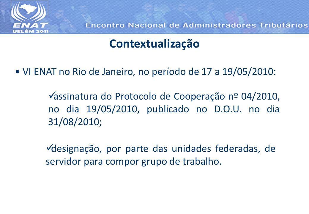 VI ENAT no Rio de Janeiro, no período de 17 a 19/05/2010: Contextualização assinatura do Protocolo de Cooperação nº 04/2010, no dia 19/05/2010, public
