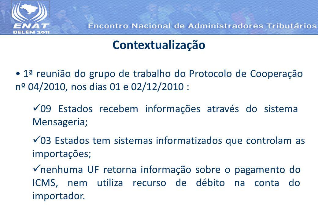 1ª reunião do grupo de trabalho do Protocolo de Cooperação nº 04/2010, nos dias 01 e 02/12/2010 : Contextualização 09 Estados recebem informações atra
