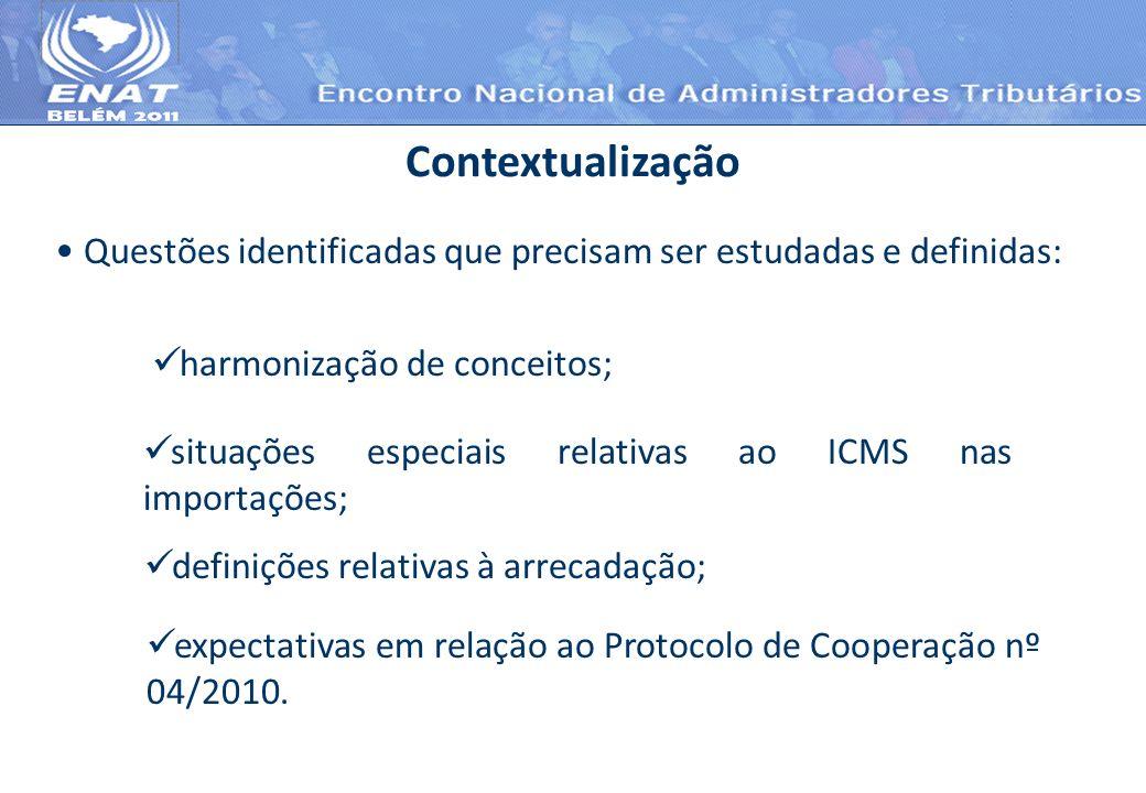 Questões identificadas que precisam ser estudadas e definidas: Contextualização harmonização de conceitos; situações especiais relativas ao ICMS nas i