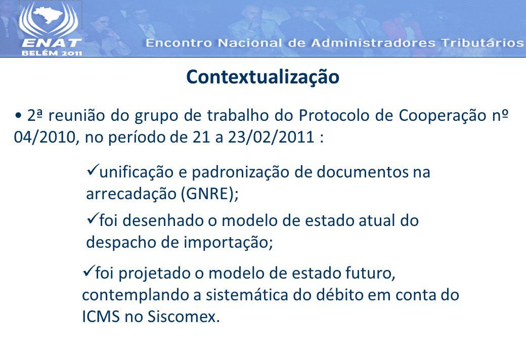 Contextualização 2ª reunião do grupo de trabalho do Protocolo de Cooperação nº 04/2010, no período de 21 a 23/02/2011 : unificação e padronização de d