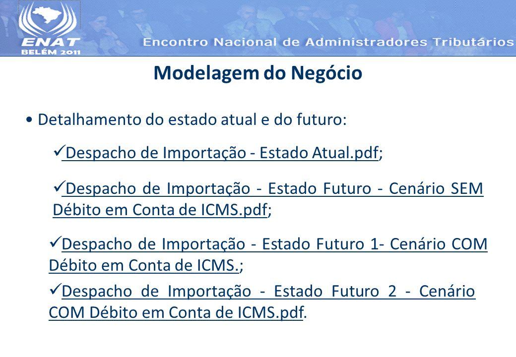 Detalhamento do estado atual e do futuro: Modelagem do Negócio Despacho de Importação - Estado Atual.pdf; Despacho de Importação - Estado Atual.pdf De