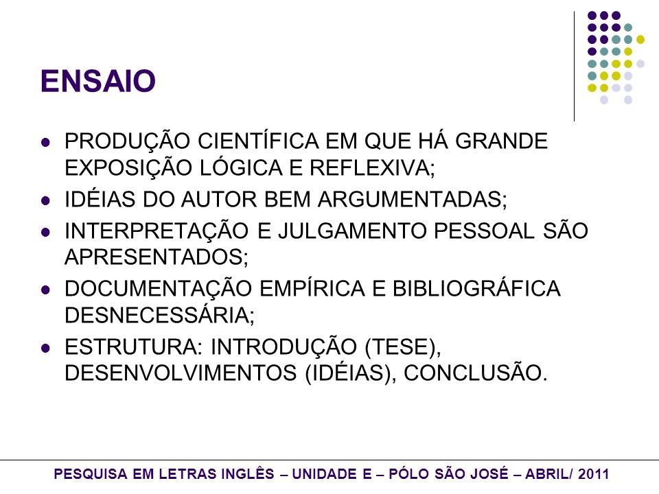 ARTIGO CIENTÍFICO PUBLICADO EM REVISTAS ESPECIALIZADAS; DISCUSSÃO APROFUNDADA; PODE SER ORIGINAL OU DE REVISÃO; ESTRUTURA: - INTRODUÇÃO: REVISÃO DE LITERATURA E DEFINIÇÃO DO OBJETO DE ESTUDO; - METODOLOGIA (PROCEDIMENTOS); - APRESENTAÇÃO E DISCUSSÃO DOS RESULTADOS; - CONCLUSÕES.