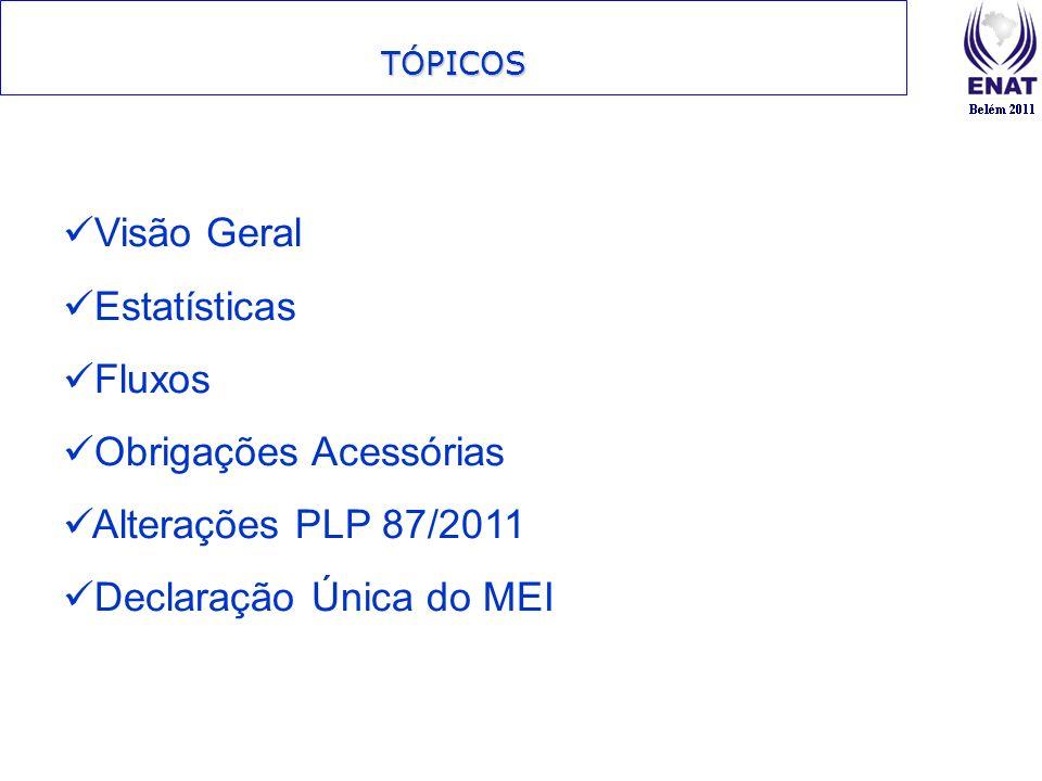 TÓPICOS Visão Geral Estatísticas Fluxos Obrigações Acessórias Alterações PLP 87/2011 Declaração Única do MEI