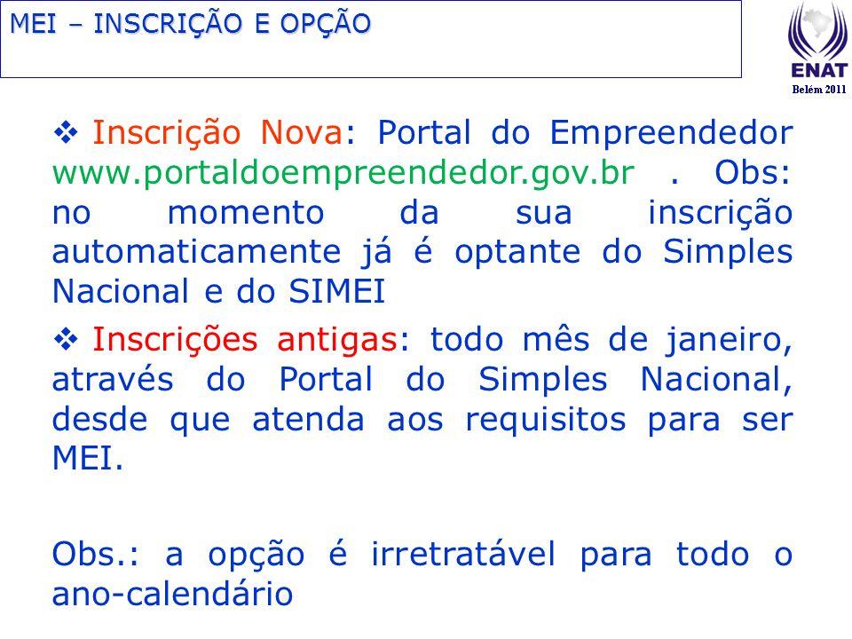 Inscrição Nova: Portal do Empreendedor www.portaldoempreendedor.gov.br. Obs: no momento da sua inscrição automaticamente já é optante do Simples Nacio