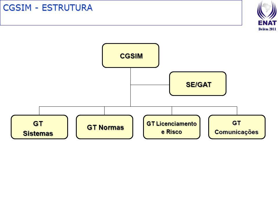 CGSIM - ESTRUTURA CGSIM SE/GAT GT Sistemas GT Normas GT Licenciamento e Risco GT Comunicações