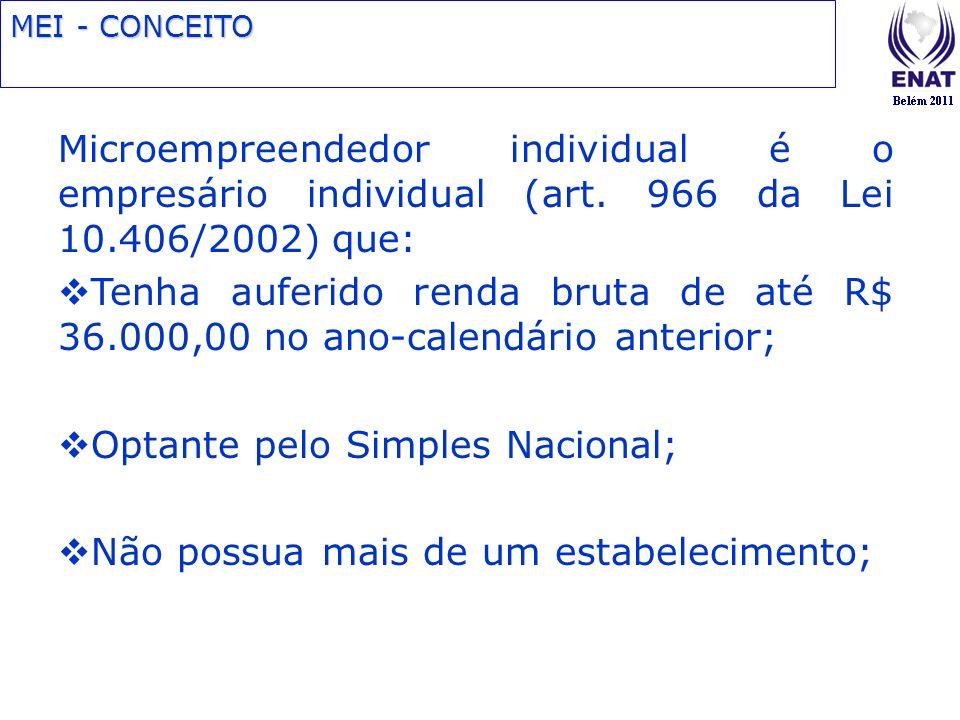 MEI - CONCEITO Microempreendedor individual é o empresário individual (art. 966 da Lei 10.406/2002) que: Tenha auferido renda bruta de até R$ 36.000,0
