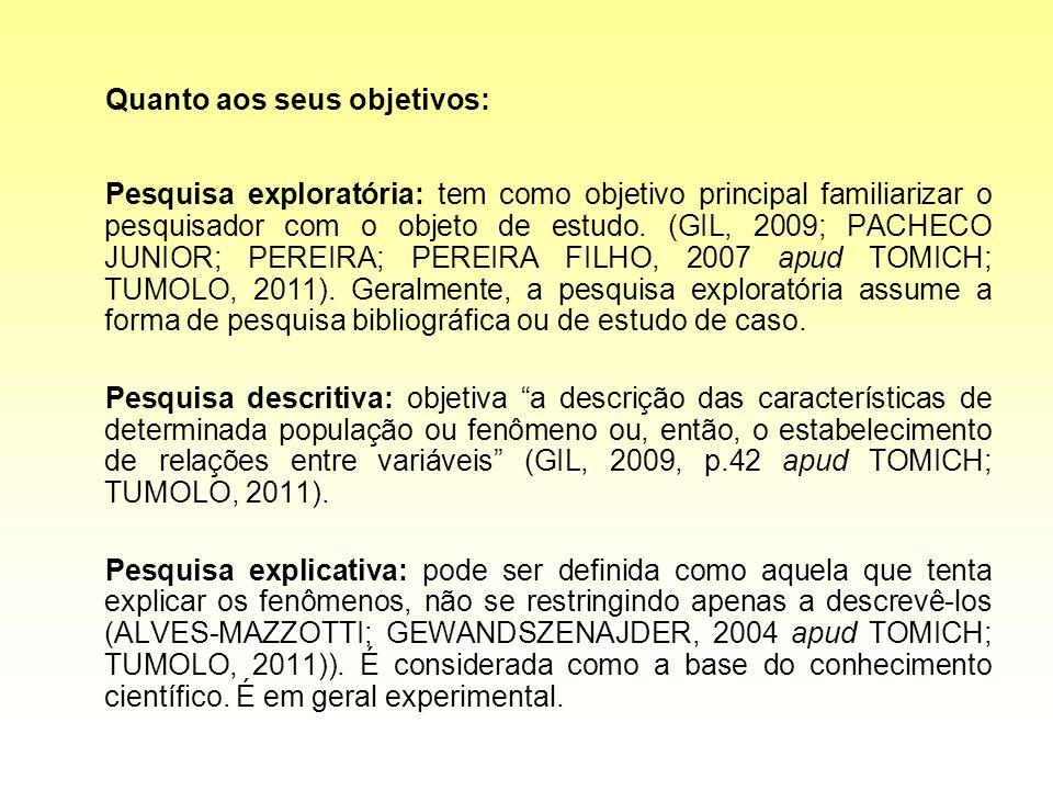 Quanto aos seus objetivos: Pesquisa exploratória: tem como objetivo principal familiarizar o pesquisador com o objeto de estudo. (GIL, 2009; PACHECO J