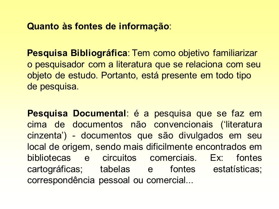 Quanto às fontes de informação: Pesquisa Bibliográfica: Tem como objetivo familiarizar o pesquisador com a literatura que se relaciona com seu objeto