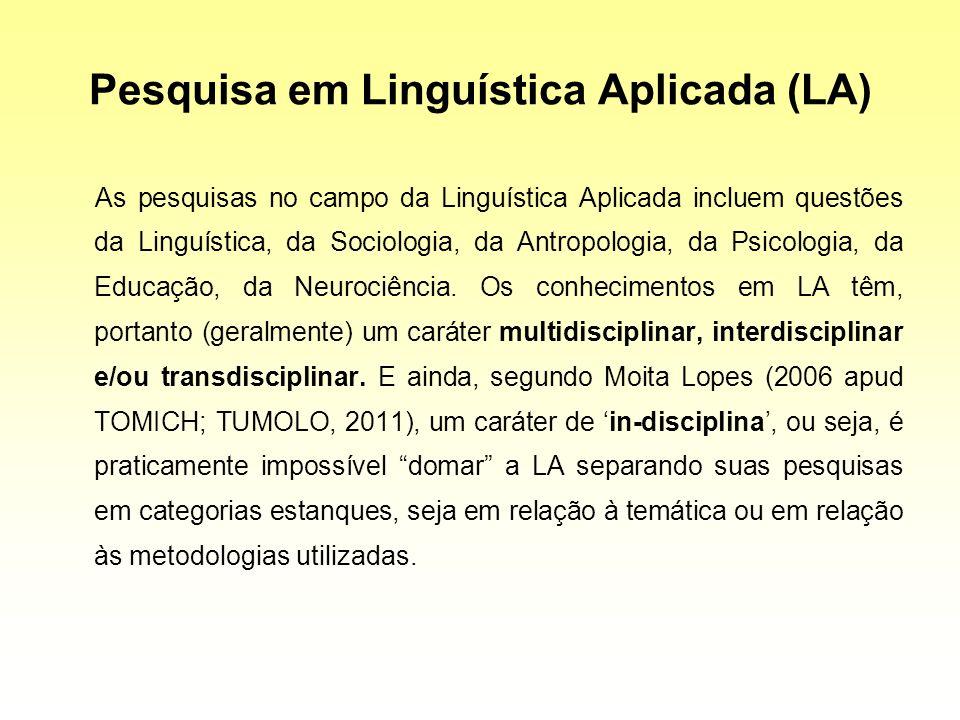 Pesquisa em Linguística Aplicada (LA) As pesquisas no campo da Linguística Aplicada incluem questões da Linguística, da Sociologia, da Antropologia, d