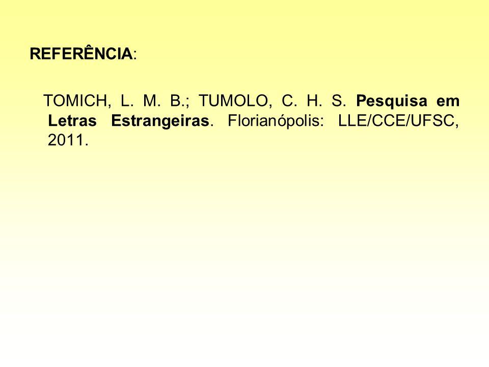 REFERÊNCIA: TOMICH, L. M. B.; TUMOLO, C. H. S. Pesquisa em Letras Estrangeiras. Florianópolis: LLE/CCE/UFSC, 2011.