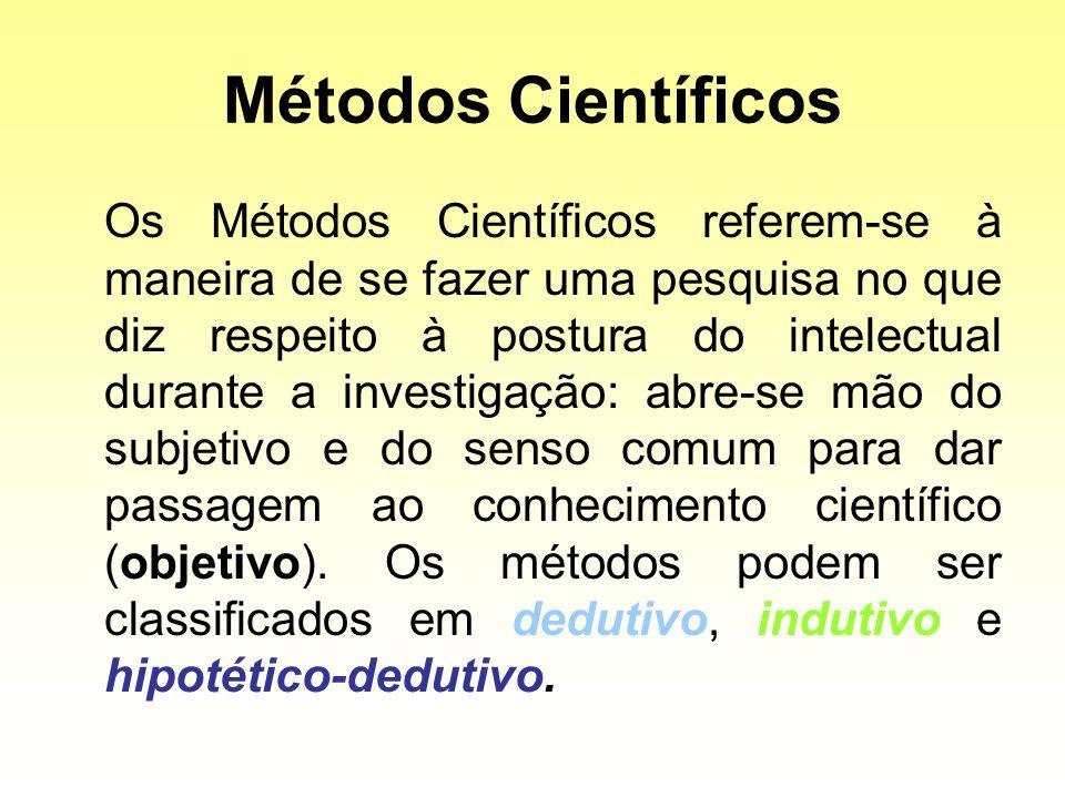 Métodos Científicos Os Métodos Científicos referem-se à maneira de se fazer uma pesquisa no que diz respeito à postura do intelectual durante a invest