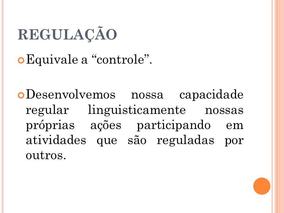 REGULAÇÃO Equivale a controle. Desenvolvemos nossa capacidade regular linguisticamente nossas próprias ações participando em atividades que são regula