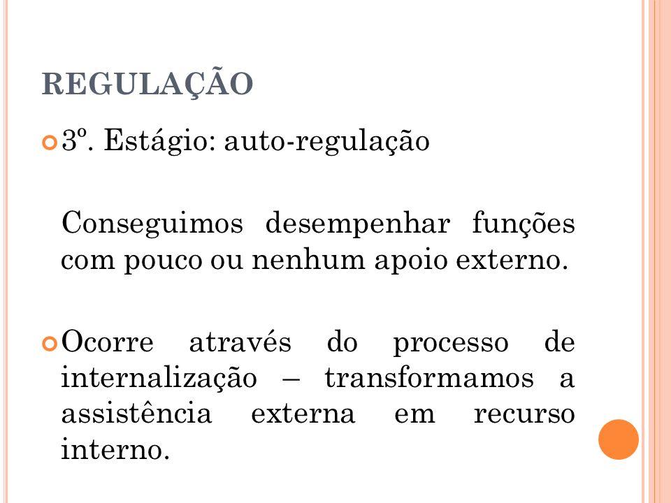 REGULAÇÃO 3º. Estágio: auto-regulação Conseguimos desempenhar funções com pouco ou nenhum apoio externo. Ocorre através do processo de internalização
