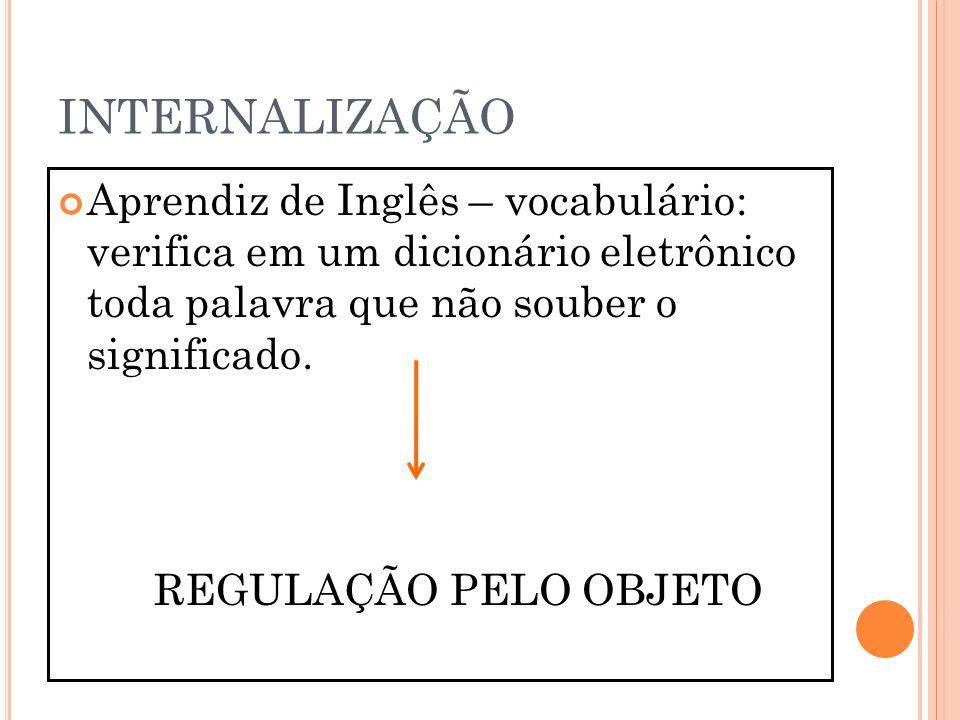 INTERNALIZAÇÃO Aprendiz de Inglês – vocabulário: verifica em um dicionário eletrônico toda palavra que não souber o significado. REGULAÇÃO PELO OBJETO