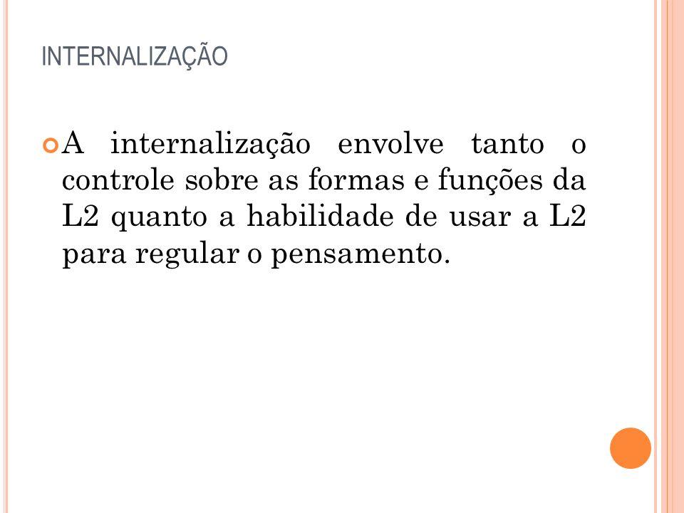 INTERNALIZAÇÃO A internalização envolve tanto o controle sobre as formas e funções da L2 quanto a habilidade de usar a L2 para regular o pensamento.