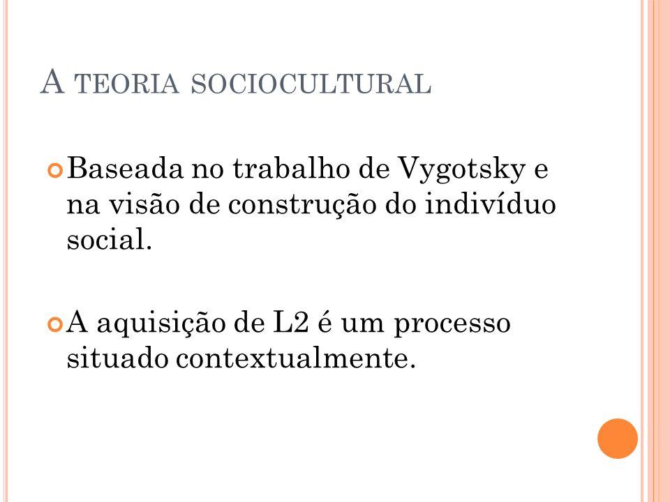 A TEORIA SOCIOCULTURAL Baseada no trabalho de Vygotsky e na visão de construção do indivíduo social. A aquisição de L2 é um processo situado contextua