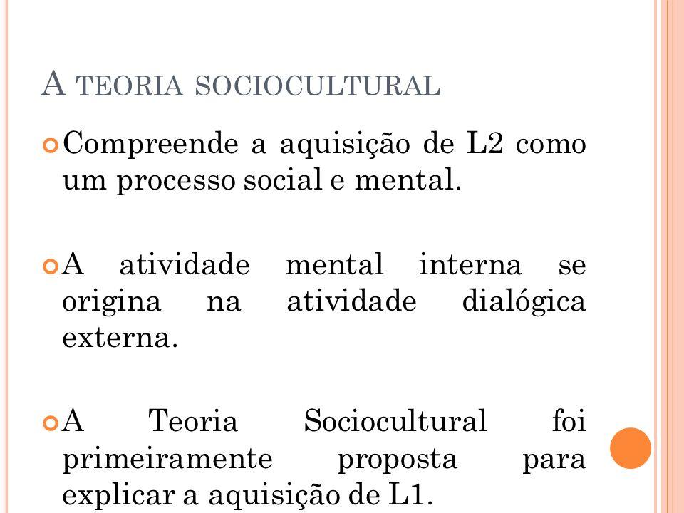 A TEORIA SOCIOCULTURAL Compreende a aquisição de L2 como um processo social e mental. A atividade mental interna se origina na atividade dialógica ext