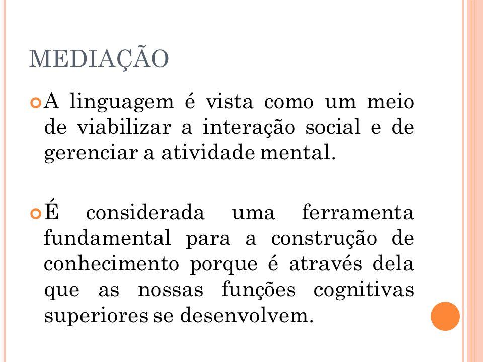 MEDIAÇÃO A linguagem é vista como um meio de viabilizar a interação social e de gerenciar a atividade mental. É considerada uma ferramenta fundamental