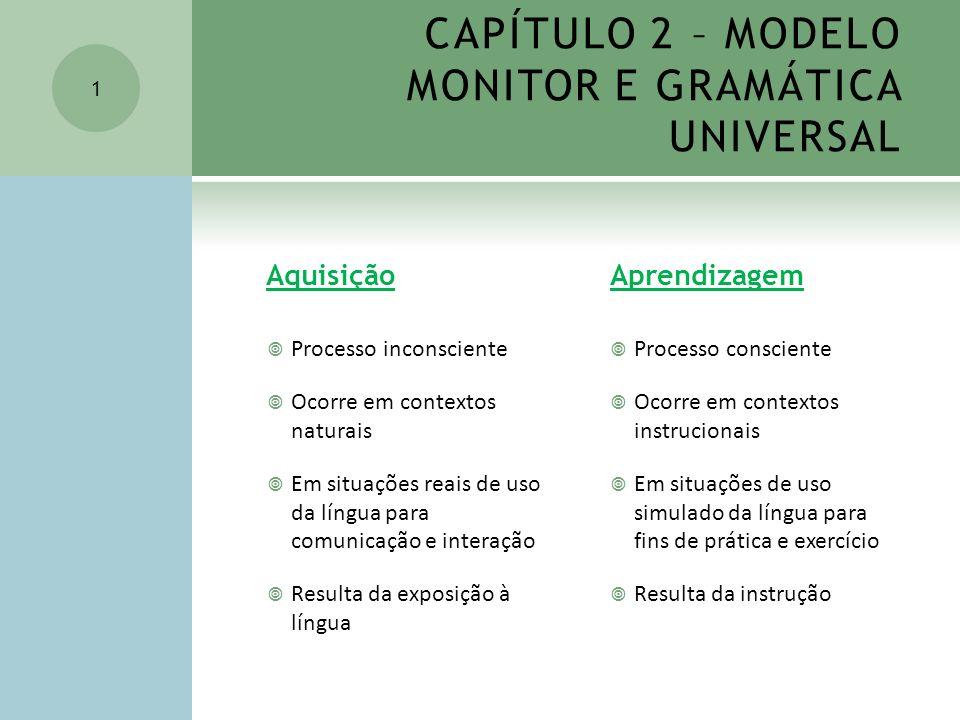 CAPÍTULO 2 – MODELO MONITOR E GRAMÁTICA UNIVERSAL Aquisição Processo inconsciente Ocorre em contextos naturais Em situações reais de uso da língua par