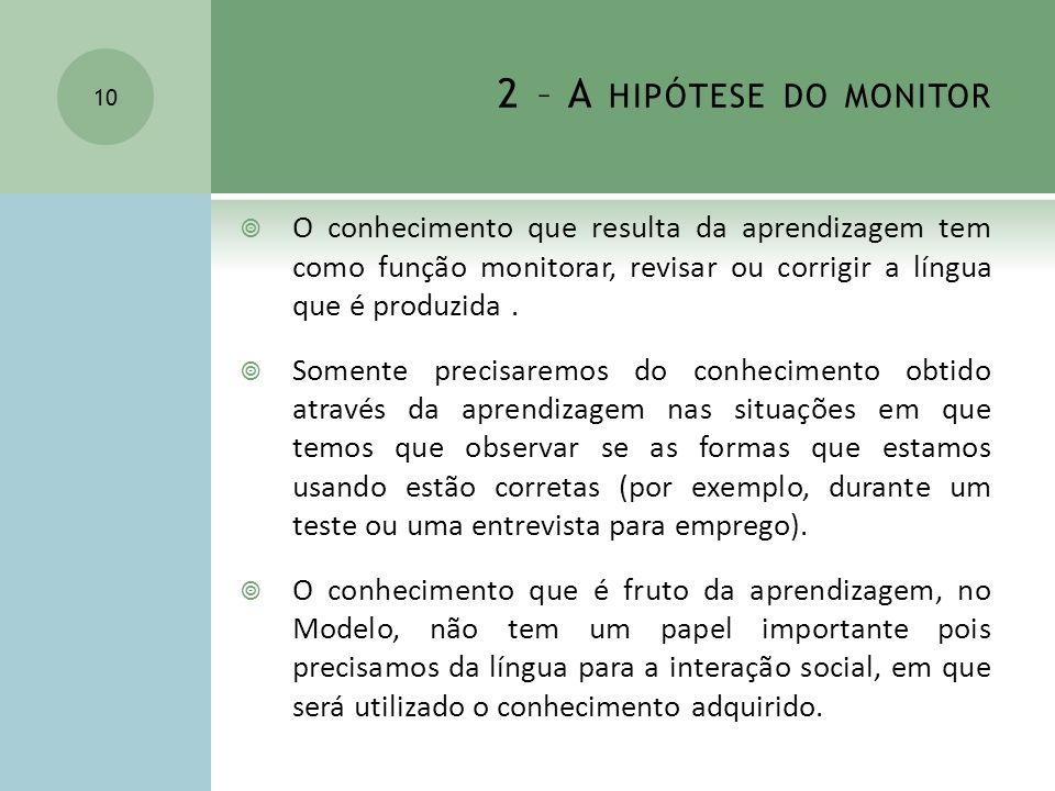2 – A HIPÓTESE DO MONITOR O conhecimento que resulta da aprendizagem tem como função monitorar, revisar ou corrigir a língua que é produzida. Somente