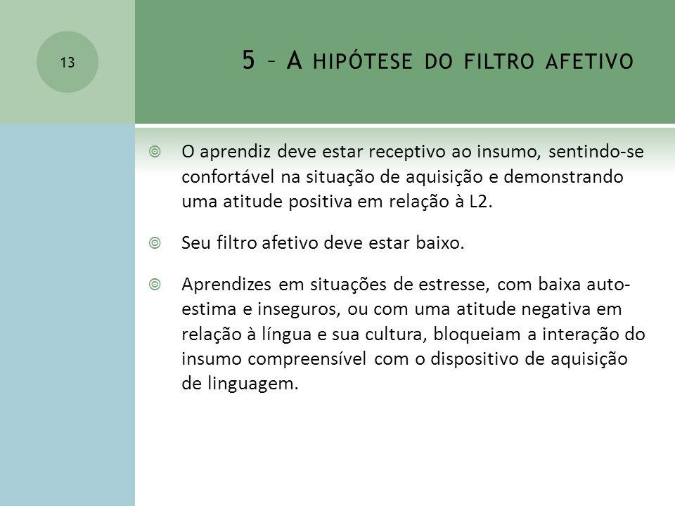 5 – A HIPÓTESE DO FILTRO AFETIVO O aprendiz deve estar receptivo ao insumo, sentindo-se confortável na situação de aquisição e demonstrando uma atitud