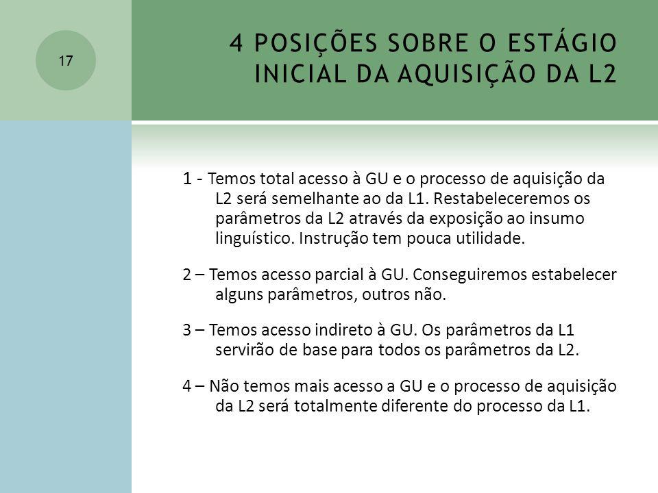 4 POSIÇÕES SOBRE O ESTÁGIO INICIAL DA AQUISIÇÃO DA L2 1 - Temos total acesso à GU e o processo de aquisição da L2 será semelhante ao da L1. Restabelec