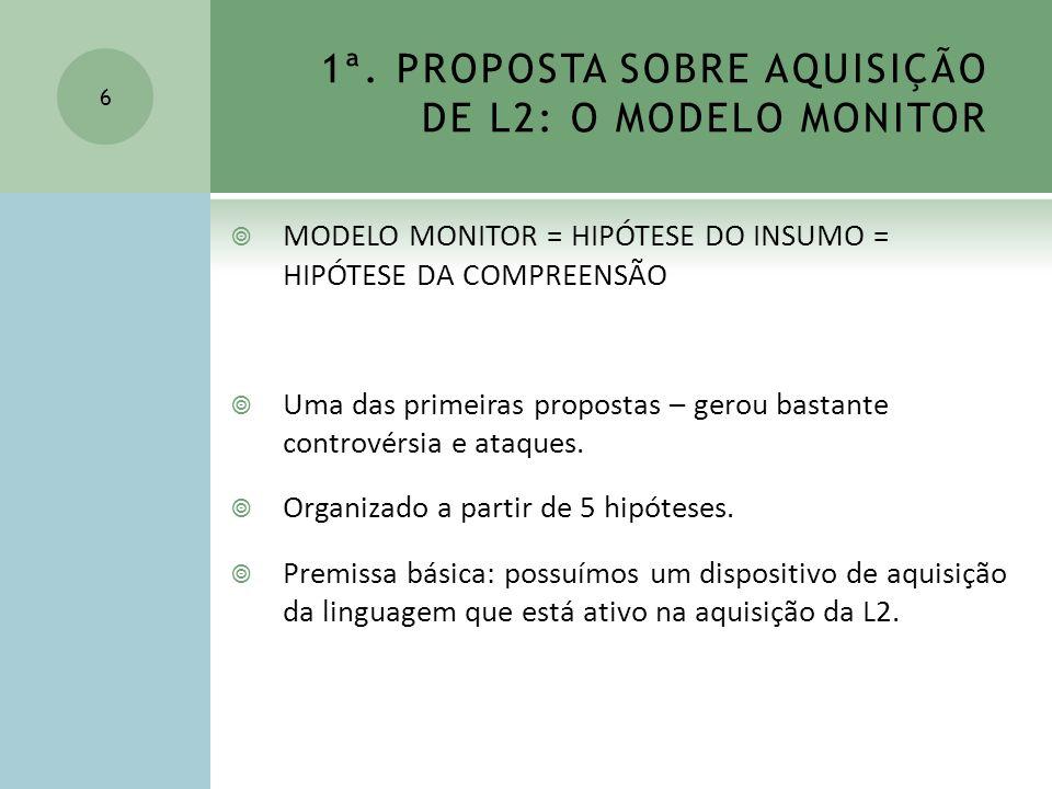 1ª. PROPOSTA SOBRE AQUISIÇÃO DE L2: O MODELO MONITOR MODELO MONITOR = HIPÓTESE DO INSUMO = HIPÓTESE DA COMPREENSÃO Uma das primeiras propostas – gerou