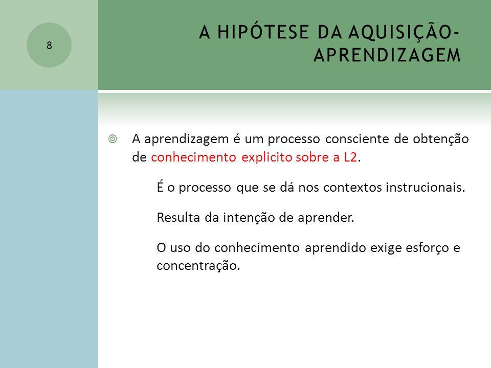 A HIPÓTESE DA AQUISIÇÃO- APRENDIZAGEM Os processos de aquisição e aprendizagem não interagem Esta hipótese é a mais importante do Modelo Monitor 9