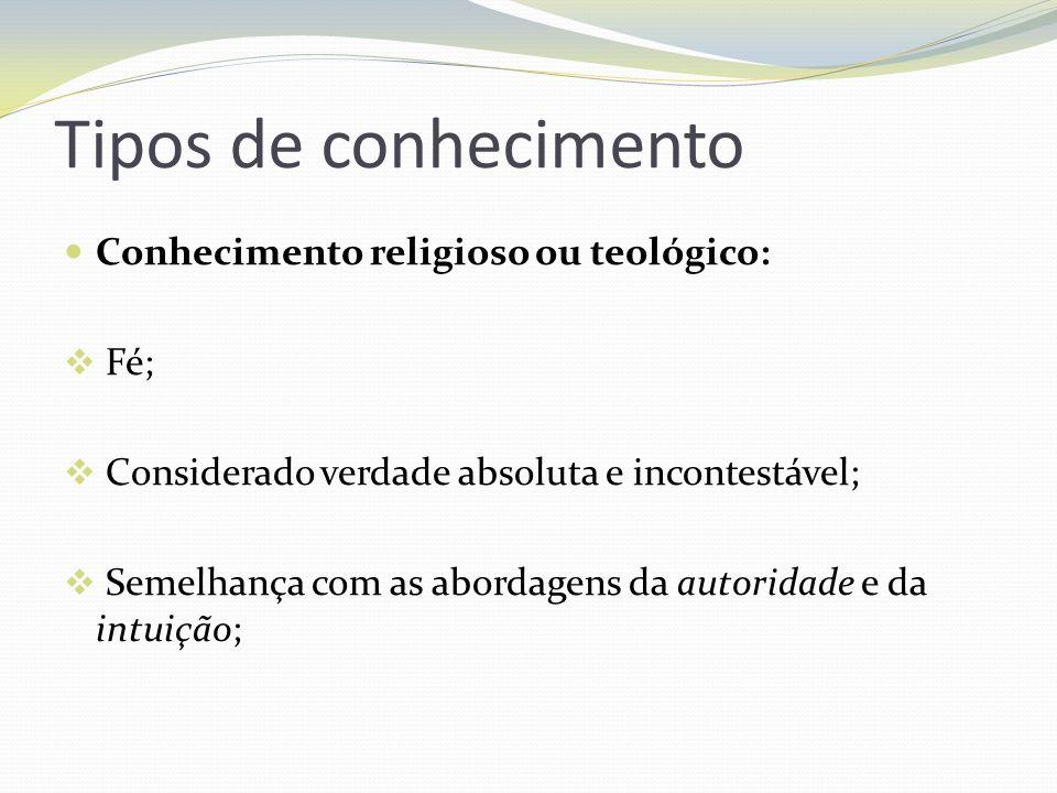 Tipos de conhecimento Conhecimento religioso ou teológico: Fé; Considerado verdade absoluta e incontestável; Semelhança com as abordagens da autoridad