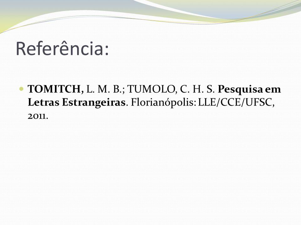 Referência: TOMITCH, L. M. B.; TUMOLO, C. H. S. Pesquisa em Letras Estrangeiras. Florianópolis: LLE/CCE/UFSC, 2011.