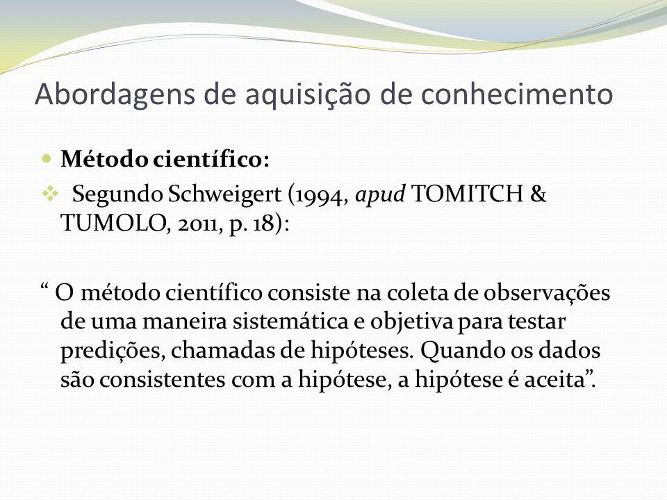 Abordagens de aquisição de conhecimento Método científico: Segundo Schweigert (1994, apud TOMITCH & TUMOLO, 2011, p. 18): O método científico consiste