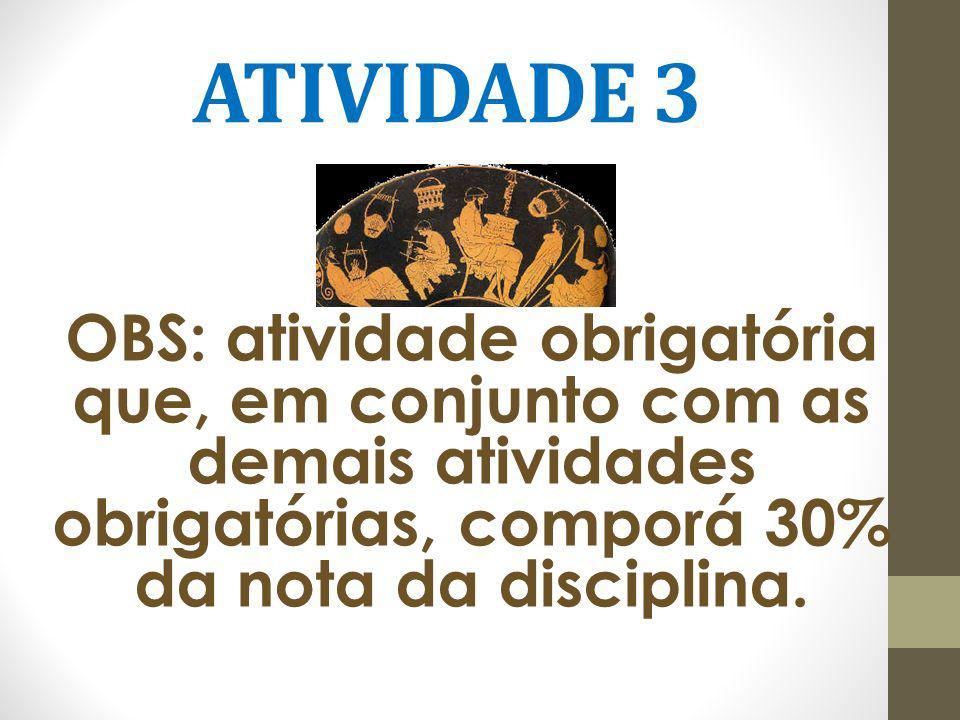 ATIVIDADE 3 OBS: atividade obrigatória que, em conjunto com as demais atividades obrigatórias, comporá 30% da nota da disciplina.